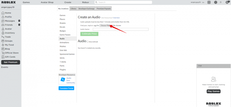 create an audio option in roblox