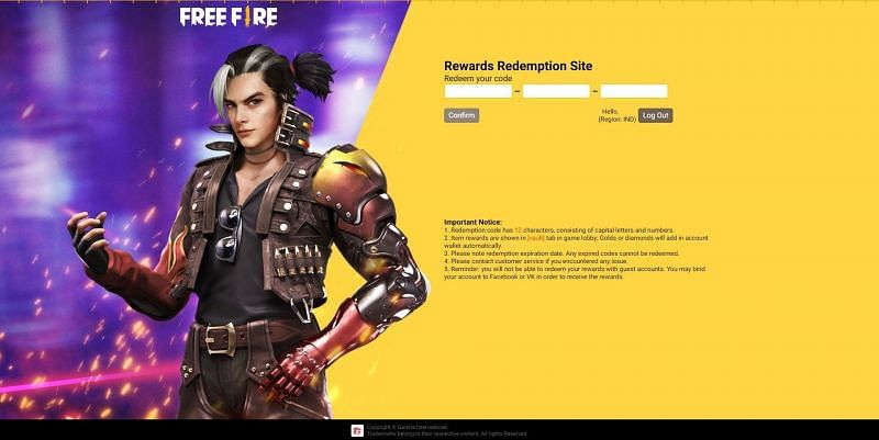 Free fire enter code box on site